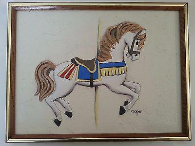 Rare Lydia Cooper Carousel Horse Mixed Media Painting
