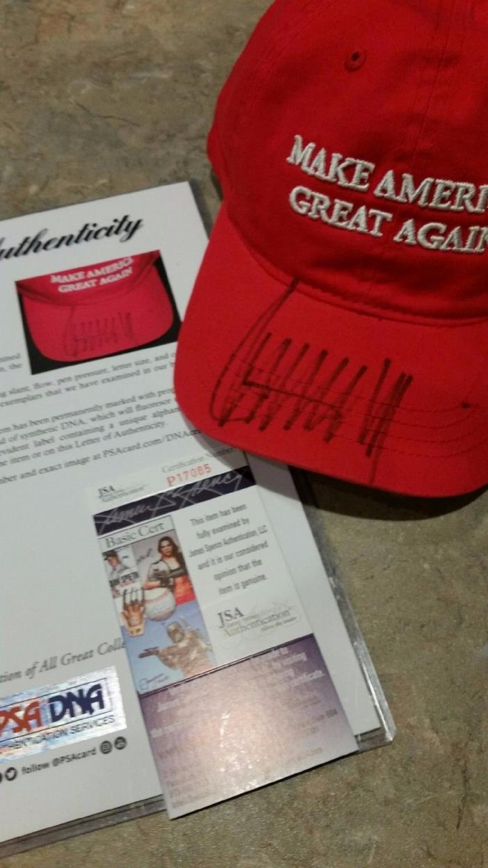 President Donald Trump Signed Auto DOUBLE Authentic Hat Cap-PSA/DNA LOA, JSA COA