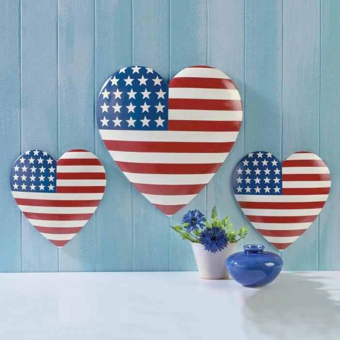 Set Of 3 Patriotic Stars and Stripes Hearts Wall Hangings Home Decor 4th of July