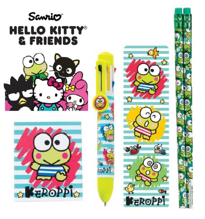 ~ NEW ~ 5pc Sanrio Keroppi Frog 8-Color Pen Pencils Bookmark Little Notebook