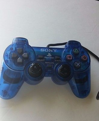 Sony Playstation 2 Dualshock Analog Ocean Clear Blue Controller Tested
