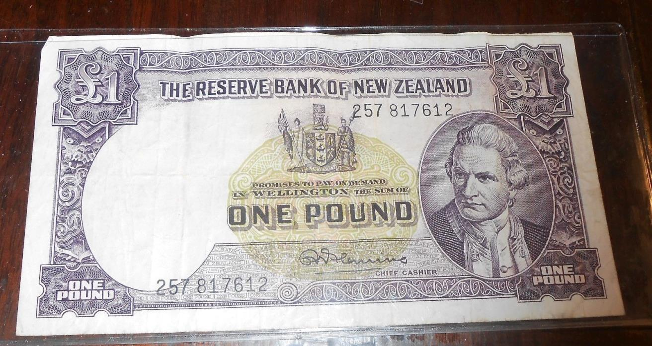 NICE NEW ZEALAND OLD BANK NOTE 1 POUND NOTE