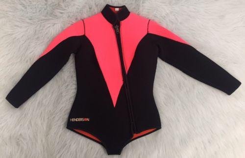 Henderson Women's Scuba Diving Long Sleeved Wetsuit Bodysuit Pink Black Sz Large
