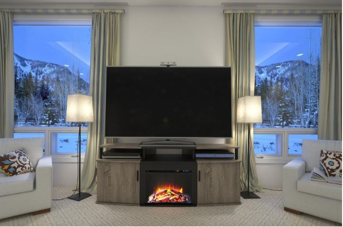 TV Console With Fireplace Electric Stand Decorative Heater Sonoma Oak Finish