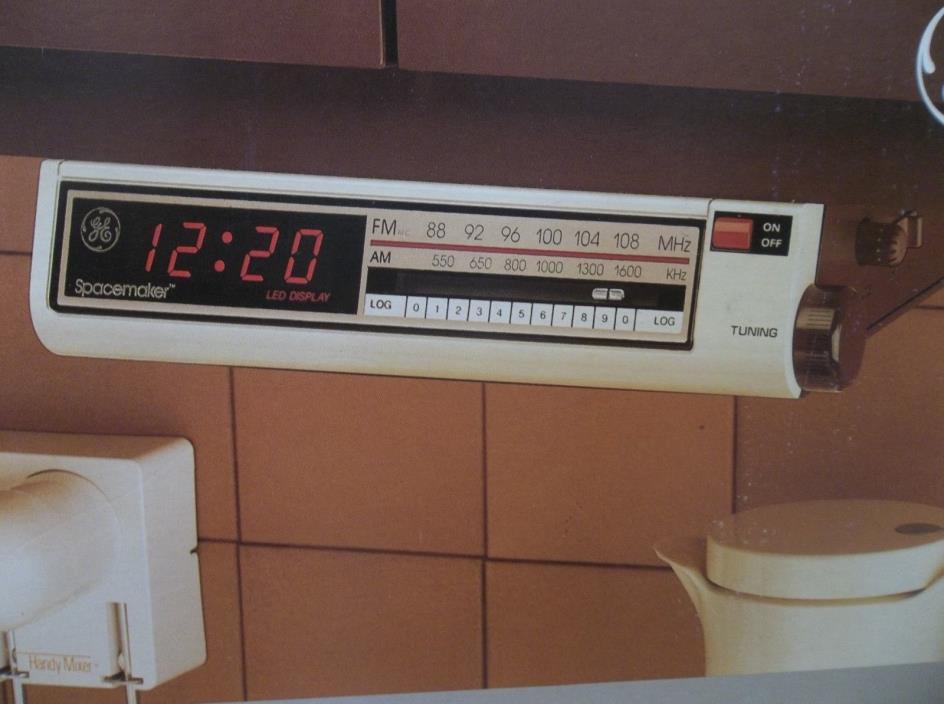 VINTAGE GE SPACEMAKER 74212 UNDERCABINET KITCHEN CLOCK RADIO ALMOND BROWN NIB