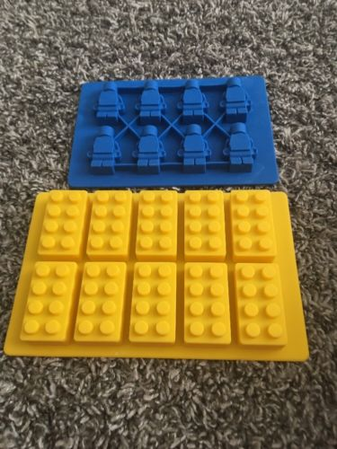 Lego Brick and 1 Minifigure Silicone Ice Cube Jelly Chocolate Cake Mold Tray
