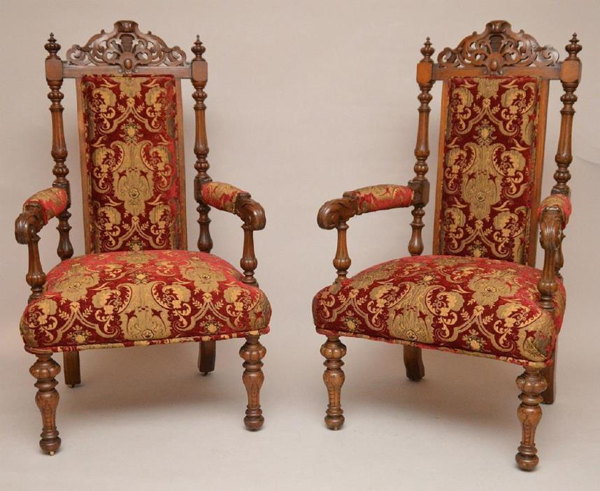 Superb Pair of Antique Carved Oak Arm Chairs Red and Gold Fabric Made in England