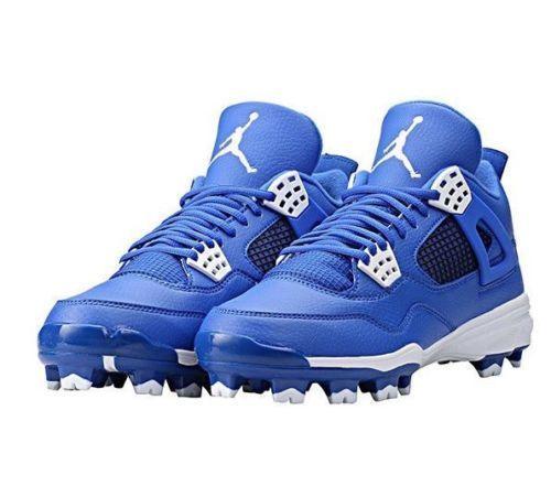 MEN'S NIKE AIR JORDAN IV RETRO MCS BASEBALL CLEATS ROYAL BLUE 807709-401 SZ 11.5