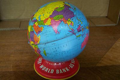 OHIO ART METAL LITHO GLOBE COIN BANK VINTAGE