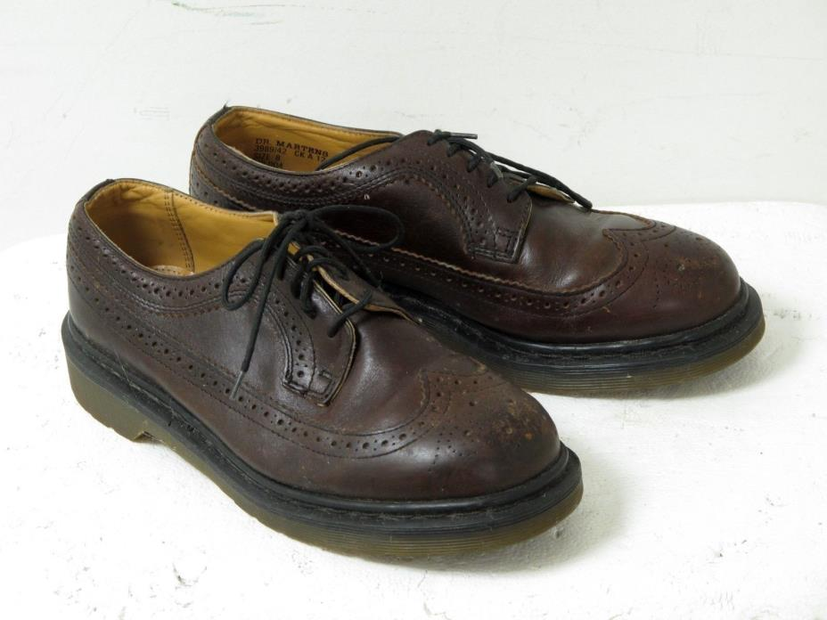Vtg Dr Martens Mens Brown Leather Wingtip Oxford Shoes UK SZ 8 M US 8.5 W SZ 10