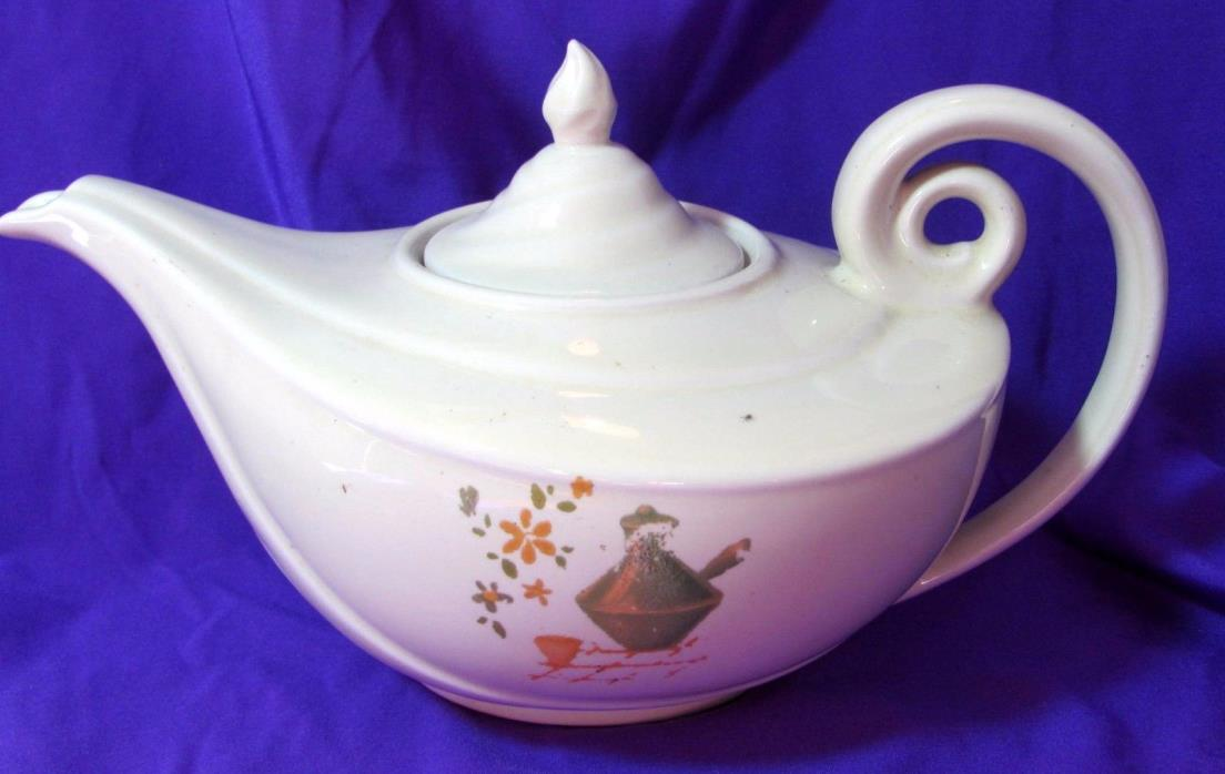 Vintage Unmarked Aladdin Teapot  Cream with Green & Gold Hand Painted Design