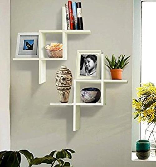 Shelving 2 Reversed Criss Cross Wall Shelf Home Office Decor Fashion New