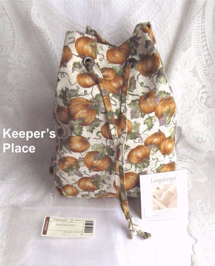 Longaberger AUTUMN PATCH Drawstring Tote Bag 2003 Basket Liner New In Package
