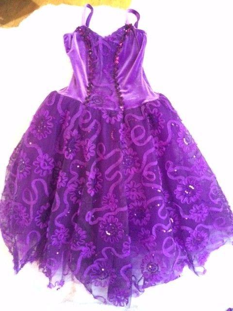 Girls Dress Wedding, Dance Costume Gallery Purple Sequin Child XL