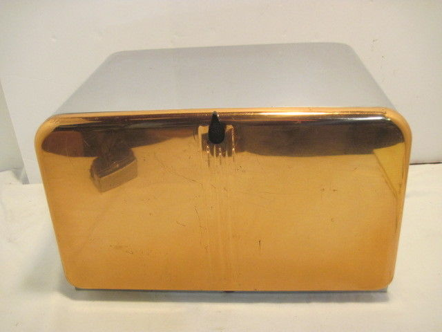 OLD  METAL BEAUTY BOX BY LINCOLN BREADBOX BREAD BOX COUNTRY KITCHEN 2 SHELF