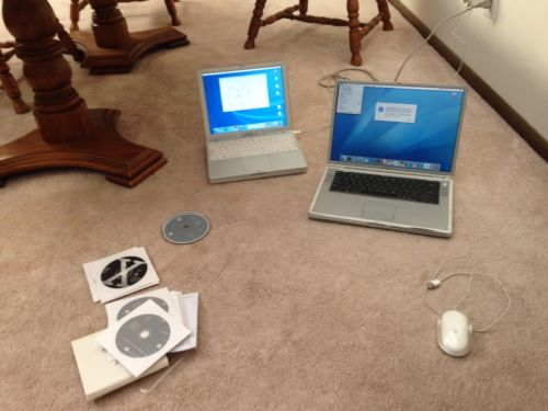 Apple Titanium G4 and Ibook and os software install discs 3 sets chargers bundle