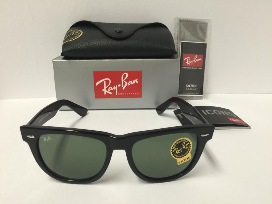 Ray-Ban RB2140 901 Wayfarer Sunglasses Black Frame Green Classic 54mm Lenses