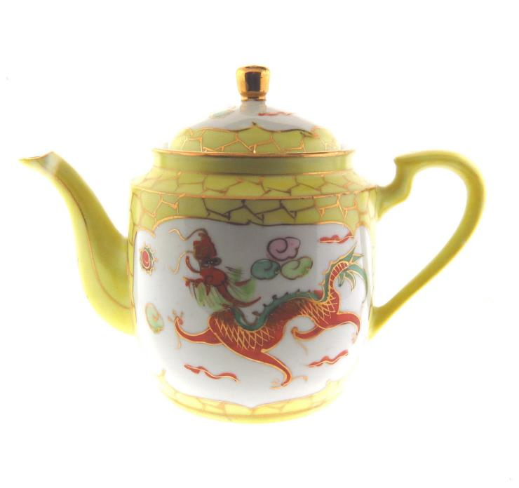 Antique Chinese Dragon Phoenix Teapot Hand Painted