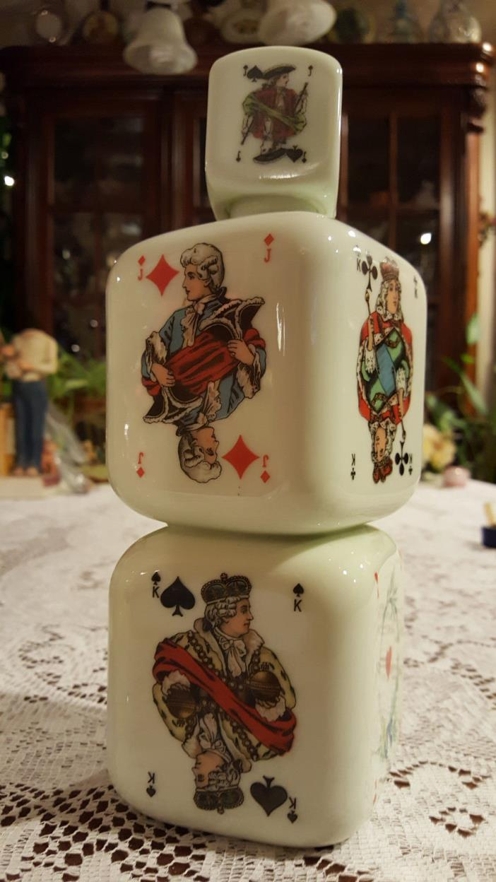 Antique Liquor Bottle Decanter Dice Playing Cards