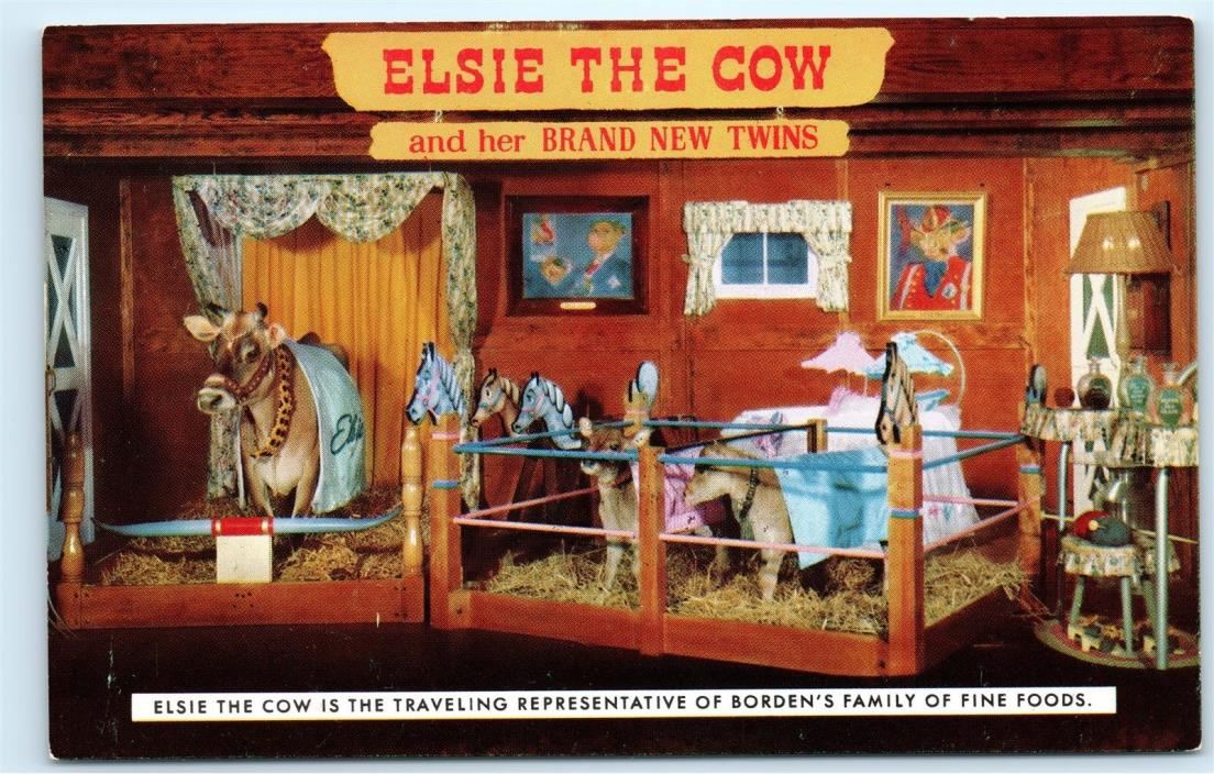 *Elsie the Cow and her Twins Borden Family Fine Foods Milk Company Postcard B35