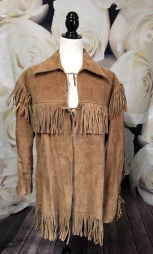 Vintage Old West Size 38 Unisex Tan Suede Leather Fringed Coat Pioneer Wear 70's