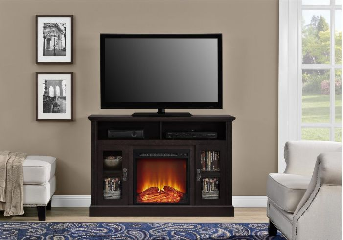 TV Console With Fireplace Stand Decorative Electric Heater Media Highboy Brown