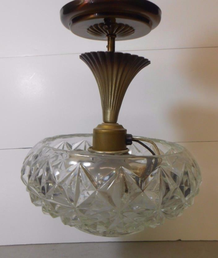 Vintage Art Deco Glass Ceiling Light -Diamond Pattern