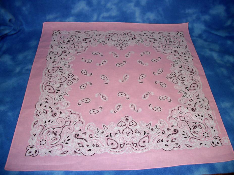 PINK BANDANA OVERSIZED XL COTTON PAISLEY 27 X 27