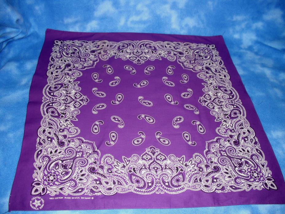 PURPLE BANDANA OVERSIZED XL COTTON PAISLEY 27 X 27