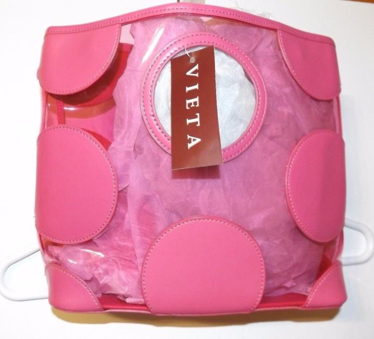 Vieta Pink & Clear Hand Bag Purse Tote W/ Potted Dots
