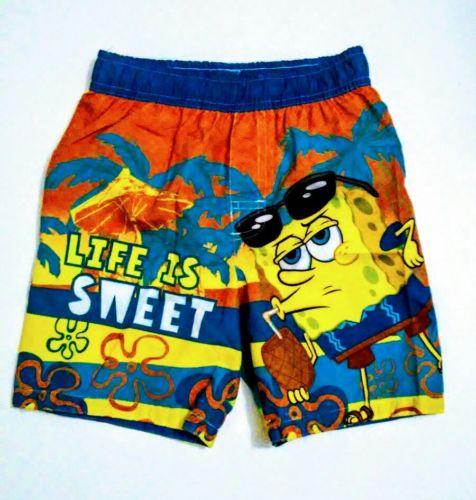 New Toddler Boys Swim Trunks Shorts Size 3T Sponge Bob Square Pants Orange Blue