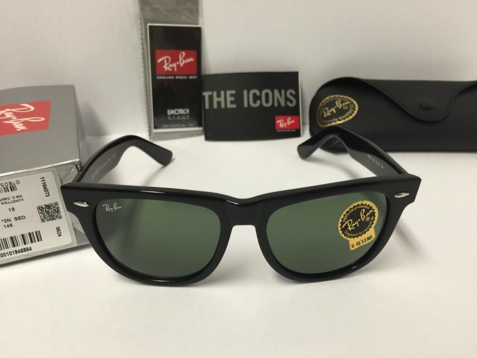 Ray-Ban RB2140 901 Original Wayfarer Sunglasses Black Frame Green 54mm Lenses