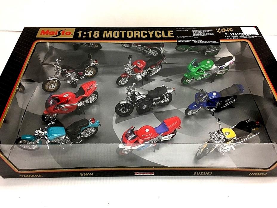 Maisto 9 Die-cast Motorcycle Collection 1:18 Scale - BRAND NEW - NIB 1998