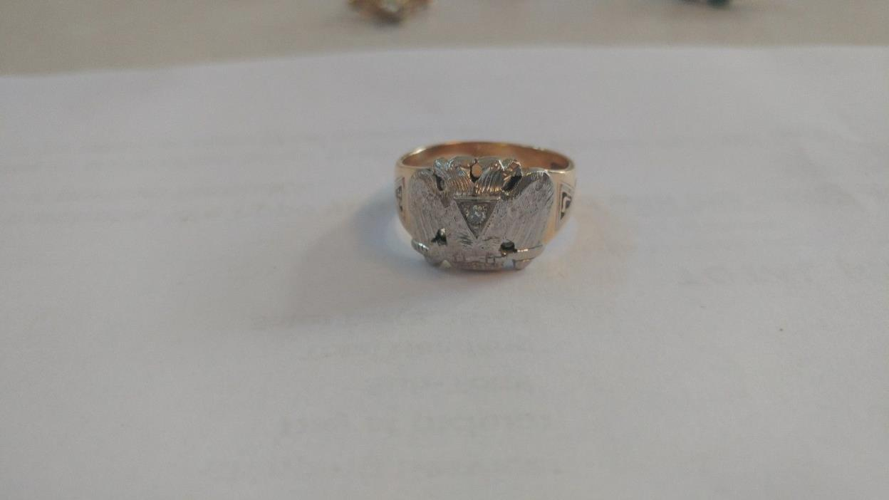 10k gold 32nd Degree Mason's Diamond Ring