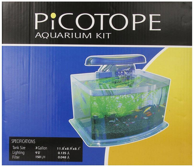 JBJ Picotope Curved Glass Nano Aquarium Kit 3 Gallon