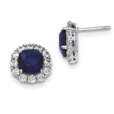 Sterling Silver Polished With Sapphire Glass and CZ Post Earrings