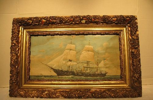 Antique Gilded Wood  Gesso Frame w/Glass Needs Restoration