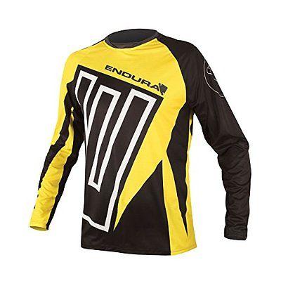 Endura  Men's MT500 Print II Long Sleeve Cycling JerseyE3095 (Yellow bike new)