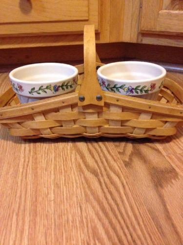 Longaberger 2005 Blossoms Basket w/ 2 Flower Pots- EUC