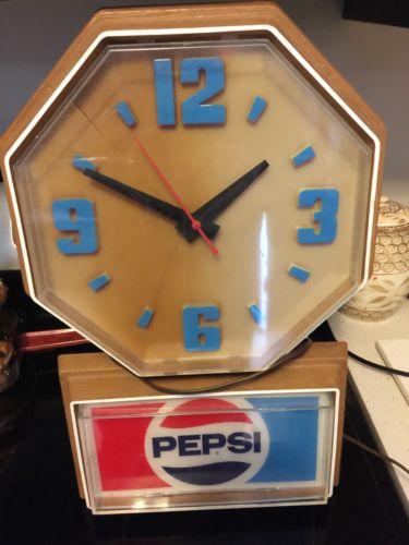 Large Retro Pepsi Wall Clock Antique