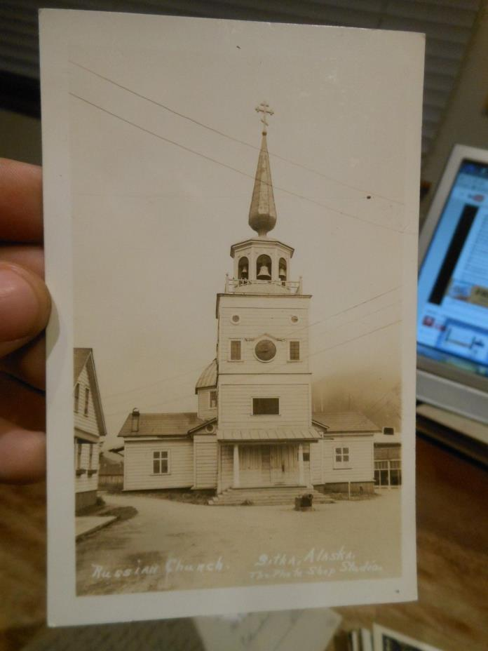 Vintage Old ALASKA Postcard Sitka Russian Church Real Photo Picture Clock Bells
