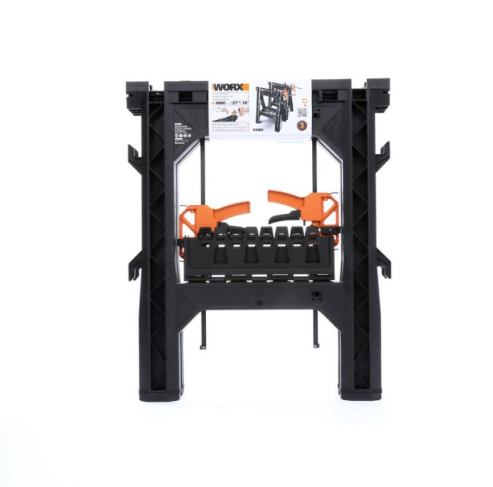 27 In ABS Plastic Clamping Saw Horses Work Benches Tool Stands Black Versatile