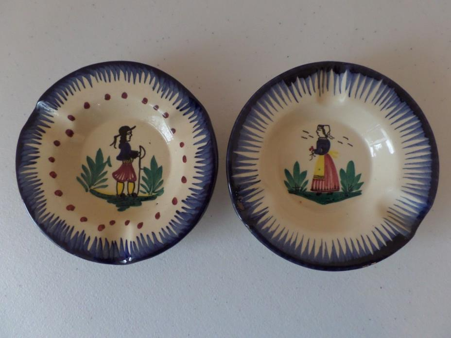 Lot 2 - Vintage - HB Henroit Quimper France Hand Painted Ashtrays Man & Woman