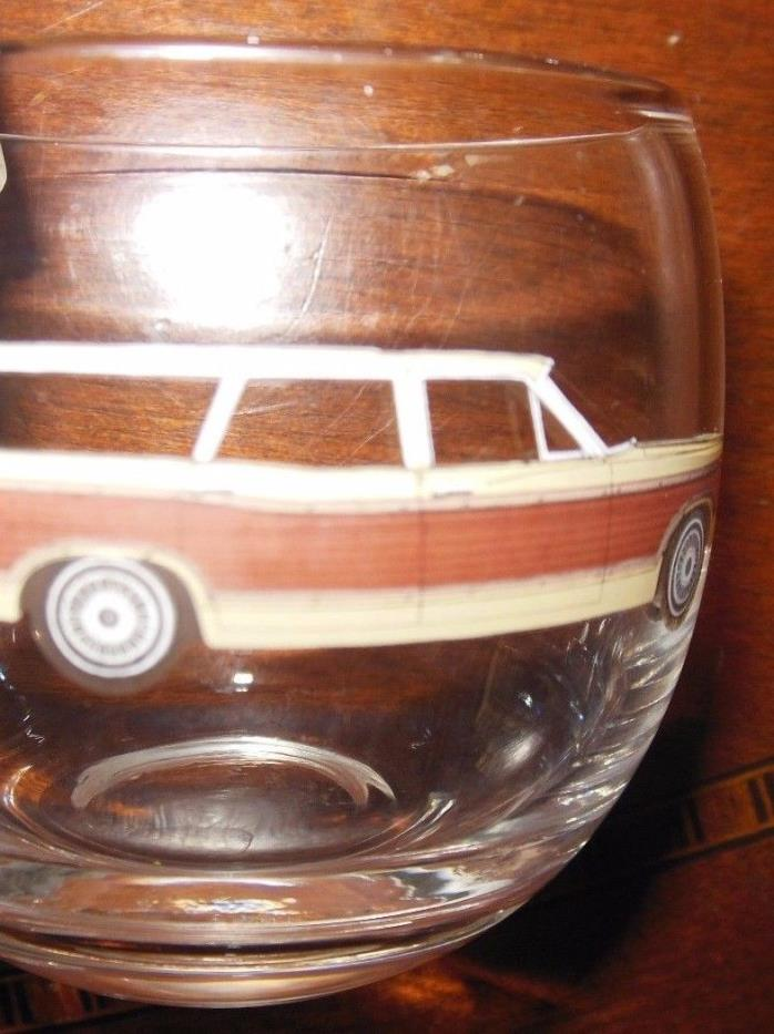 Vintage Clear Glass Lowball Tumbler Station Wagon