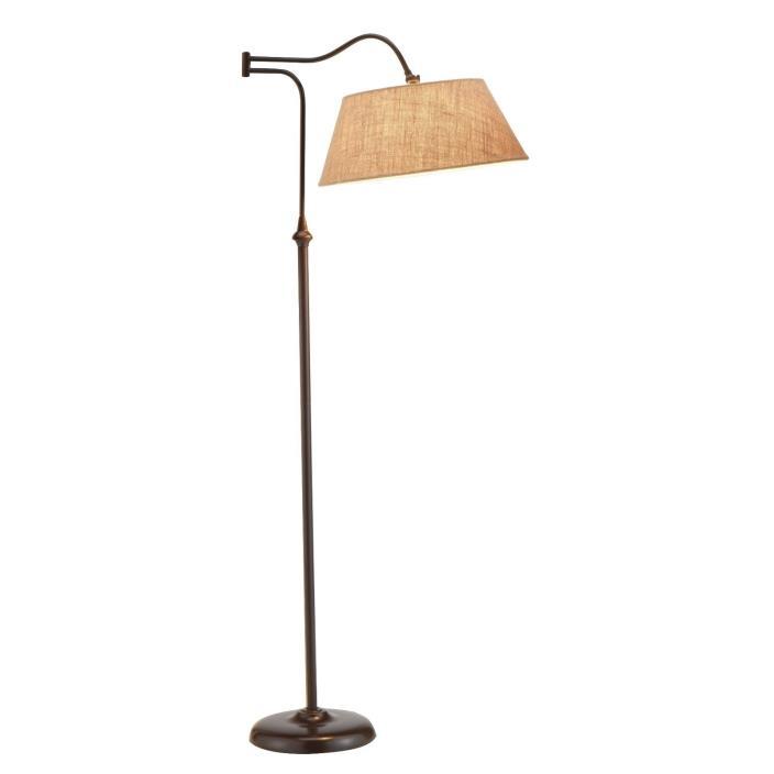61 Inch Antique Bronze Finish Swing Arm Floor Lamp