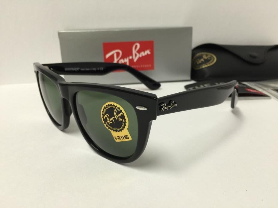 Ray-Ban Wayfarer Sunglasses Unisex RB2140 901 Black Frame Green 54mm Lenses