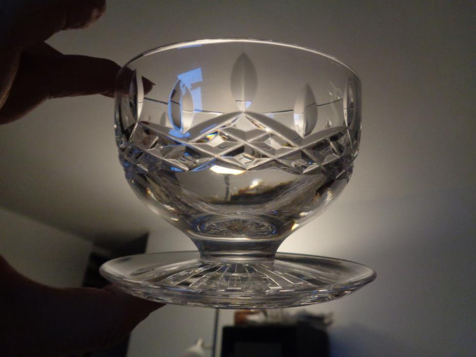 WATERFORD LISMORE Crystal GRAPEFRUIT / DESSERT DISH / GLASS with Underplate
