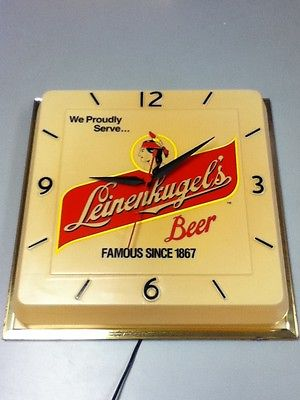 Leinenkugels beer sign lighted wall clock bar light Indian maiden Jacob big HR1