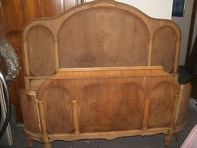 ANTIQUE CURVED QUEEN SIZE BED SET FOOT BOARD HEAD BOARD