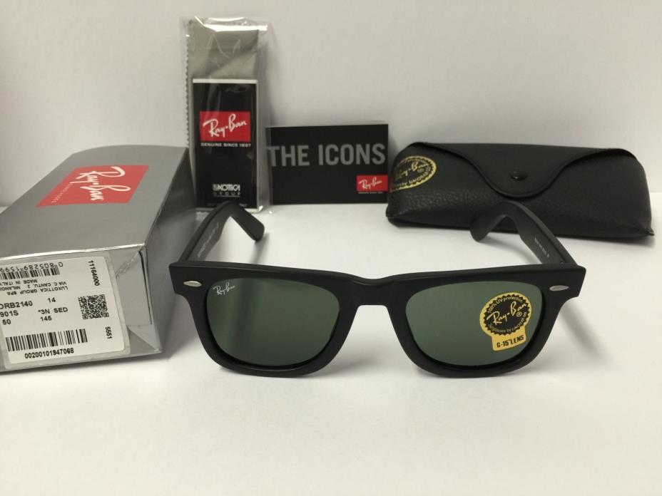 Ray-Ban RB2140 901S Wayfarer Sunglasses Unisex Matte Black Green Lenses 50mm